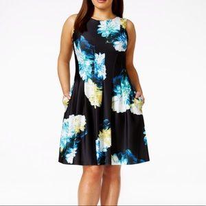 Calvin Klein Floral Fit & Flare Scuba Dress size 4